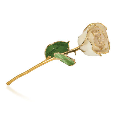 Lacquer-Dipped Gold-Plated White Rose, , default