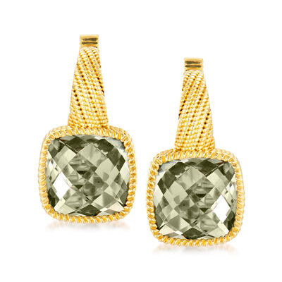 5.75 ct. t.w. Green Prasiolite Earrings in 18kt Gold Over Sterling