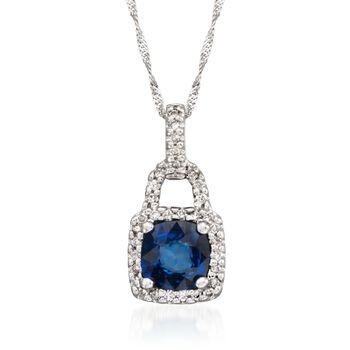 "1.10 Carat Sapphire and .18 ct. t.w. Diamond Pendant Necklace in 14kt White Gold. 16"", , default"