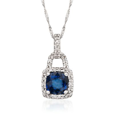 1.10 Carat Sapphire and .18 ct. t.w. Diamond Pendant Necklace in 14kt White Gold, , default