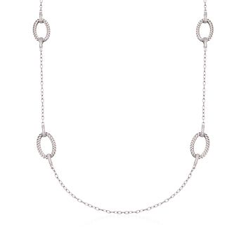 """Charles Garnier """"Ravello"""" 1.60 ct. t.w. CZ Station Necklace in Sterling Silver. 40"""", , default"""