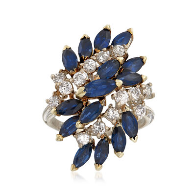 C. 1960 Vintage 3.00 ct. t.w. Sapphire and .85 ct. t.w. Diamond Cluster Ring in 14kt White Gold, , default