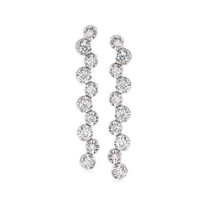 C. 1990 Vintage .70 ct. t.w. Diamond Zig-Zag Earrings in 18kt White Gold, , default