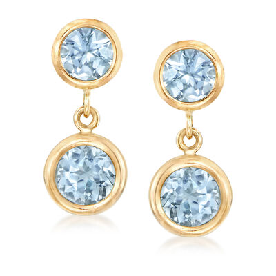 1.70 ct. t.w. Sky Blue Topaz Drop Earrings in 14kt Yellow Gold
