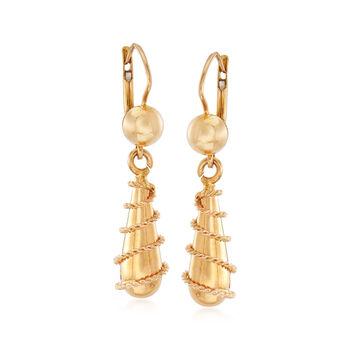 C. 1990 18kt Yellow Gold Roped Swirl Drop Earrings, , default