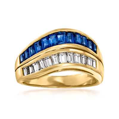 C. 1980 Vintage .96 ct. t.w. Sapphire and .56 ct. t.w. Diamond Wave Ring in 18kt Yellow Gold