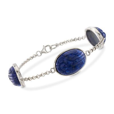 Lapis Scarab Station Bracelet in Sterling Silver, , default