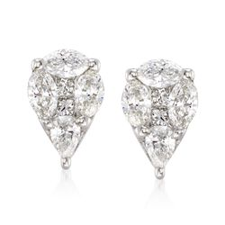 .75 ct. t.w. Pear-Shaped Diamond Illusion Earrings in 14kt White Gold , , default