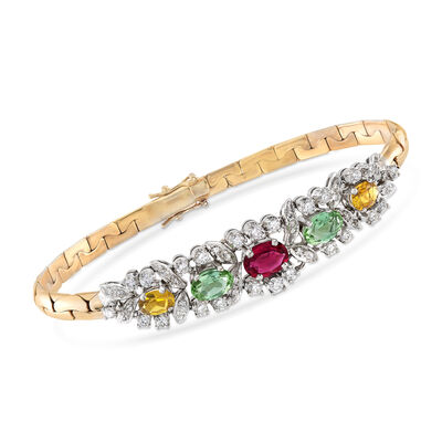 C. 1980 Vintage 3.15 ct. t.w. Multicolored Tourmaline and 1.25 ct. t.w. Diamond Bracelet in 18kt Yellow Gold