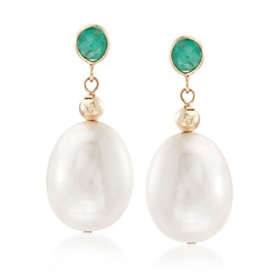 9.5-10.5mm Cultured Pearl and .60 ct. t.w. Emerald Earrings in 14kt Yellow Gold, , default