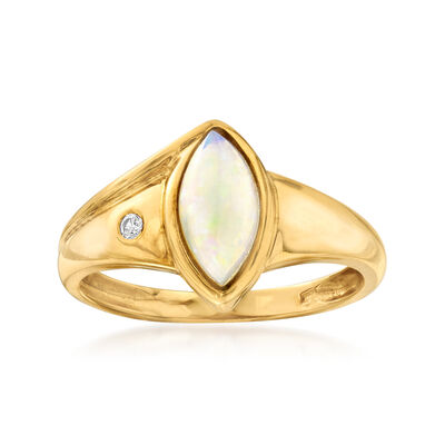 C. 1980 Vintage 10x4.5mm Opal Ring with Diamond Accent in 18kt Yellow Gold, , default