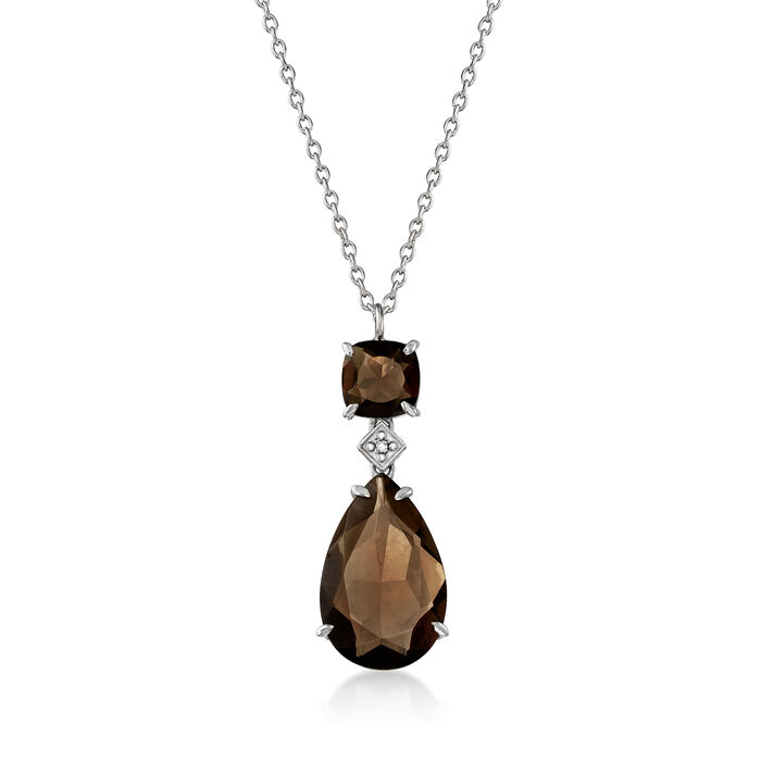 10.20 ct. t.w. Smoky Quartz Pear-Shaped Necklace with Diamond Accent in Sterling Silver