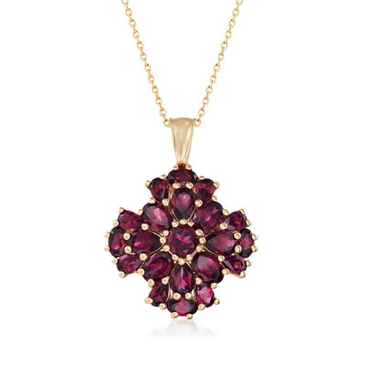 7.70 ct. t.w. Rhodolite Garnet Cluster Pendant Necklace in 14kt Gold Over Sterling, , default