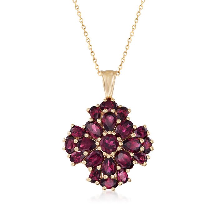 """7.70 ct. t.w. Rhodolite Garnet Cluster Pendant Necklace in 14kt Gold Over Sterling. 18"""""""