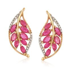 2.00 ct. t.w. Ruby and .12 ct. t.w. Diamond Leaf Earrings in 14kt Yellow Gold, , default