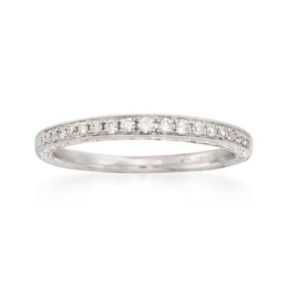 .16 ct. t.w. Diamond Engraved Wedding Ring in 14kt White Gold, , default