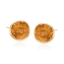1.50 ct. t.w. Bezel-Set Citrine Stud Earrings in 14kt Yellow Gold, , default