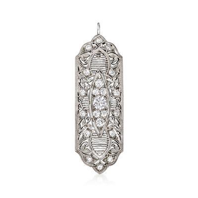 C. 1950 Vintage 1.35 ct. t.w. Diamond Filigree Pin/Pendant in Platinum