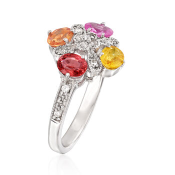 1.60 ct. t.w. Multicolored Sapphire and .15 ct. t.w. Diamond Ring in 14kt White Gold, , default