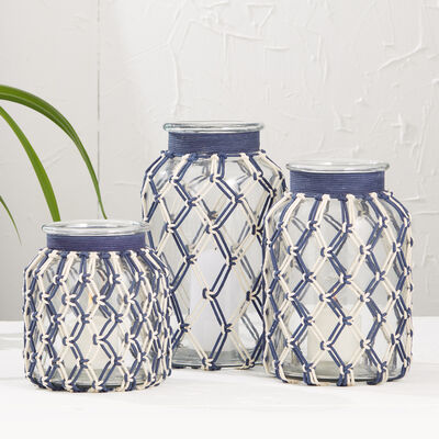 "Set of 3 ""Roped In"" Blue and White Handwoven Hurricane Candleholders, , default"