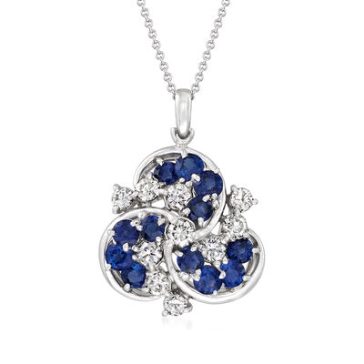 C. 1980 Vintage 2.52 ct. t.w. Sapphire and 1.14 ct. t.w. Diamond Cluster Pendant Necklace in Platinum and 18kt White Gold