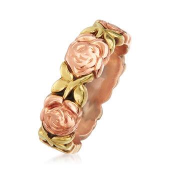 """C. 1980 Vintage 14kt Two-Tone Gold Rose Ring. 6"""", , default"""