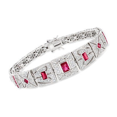 2.40 ct. t.w. Simulated Ruby and 1.50 ct. t.w. CZ Bracelet in Sterling Silver, , default