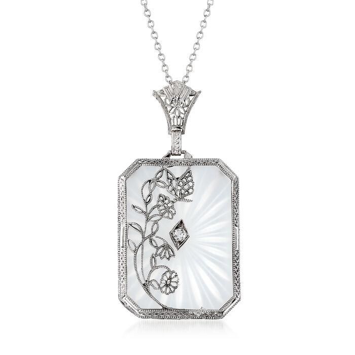 "C. 1950 Rock Crystal Floral Pendant Necklace in 14kt White Gold. 16.5"", , default"