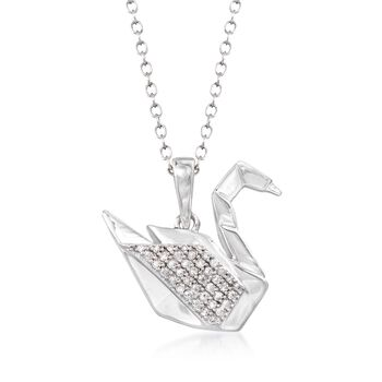 "Sterling Silver Swan Pendant Necklace With Diamond Accents. 18"", , default"