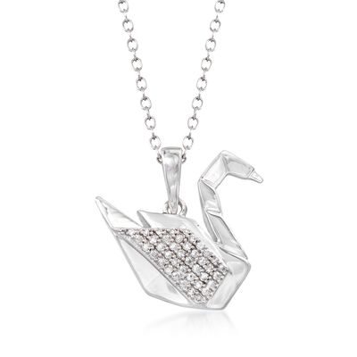 Sterling Silver Swan Pendant Necklace with Diamond Accents, , default