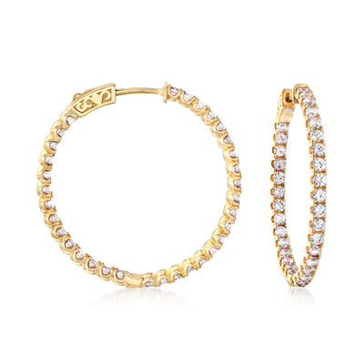 3.63 ct. t.w. CZ Inside-Outside Hoop Earrings in 18kt Gold Over Sterling, , default