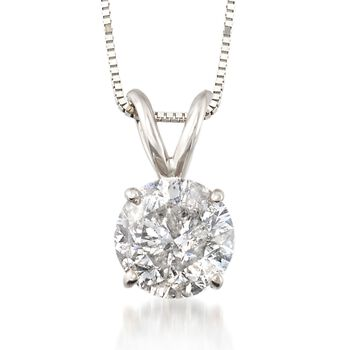 "1.50 Carat Diamond Solitaire Necklace in 14kt White Gold. 18"", , default"