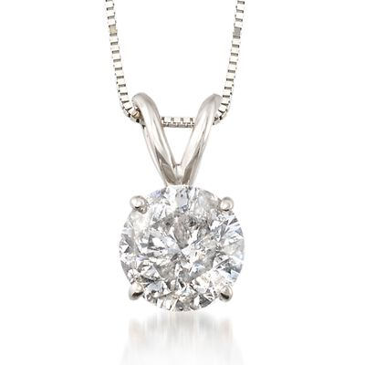 1.50 Carat Diamond Solitaire Necklace in 14kt White Gold, , default