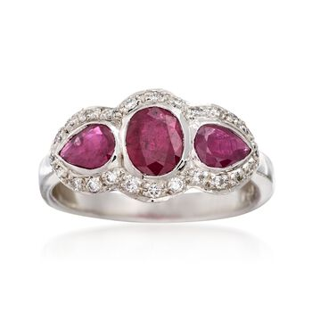 C. 1990 Vintage 1.25 ct. t.w. Ruby and .20 ct. t.w. Diamond Ring in 18kt White Gold. Size 6, , default