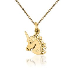 "14kt Yellow Gold Diamond-Cut Unicorn Necklace. 18"", , default"