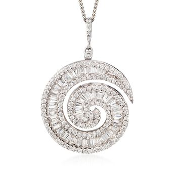 "2.43 ct. t.w. Diamond Swirl Pendant Necklace in 18kt White Gold. 18"", , default"