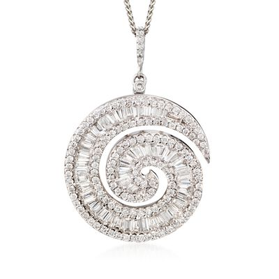 2.43 ct. t.w. Diamond Swirl Pendant Necklace in 18kt White Gold, , default