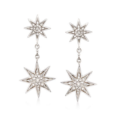 .50 ct. t.w. Diamond Starburst Drop Earrings in Sterling Silver, , default