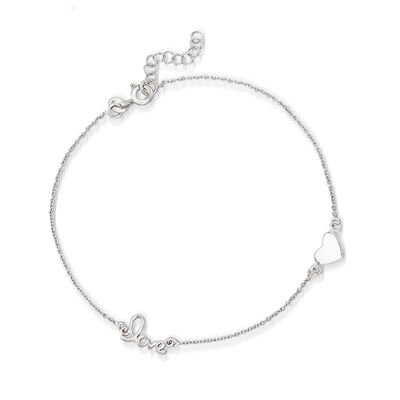 "Sterling Silver Heart and ""Love"" Station Anklet, , default"
