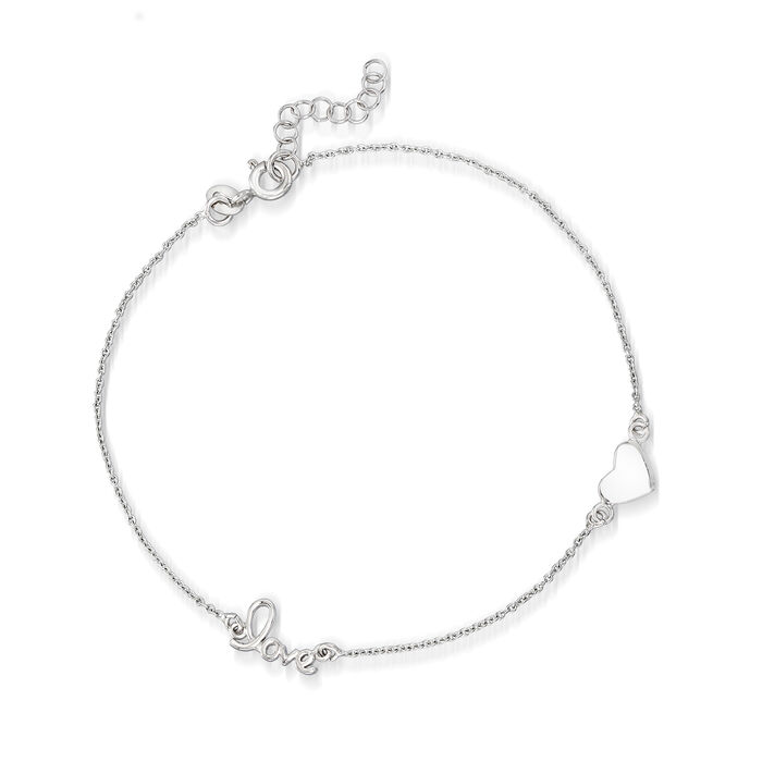 """Sterling Silver Heart and """"Love"""" Station Anklet"""