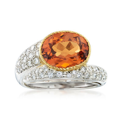 C. 2000 Vintage 3.83 Carat Hessonite and .39 ct. t.w. Diamond Ring in 18kt Yellow Gold and Platinum, , default