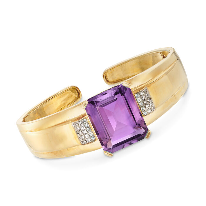 """25.00 Carat Amethyst and .50 ct. t.w. Diamond Bangle Bracelet in 14kt Yellow Gold. 7"""""""