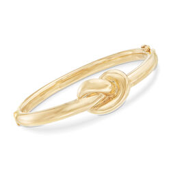 14kt Yellow Gold Love Knot Bangle Bracelet, , default