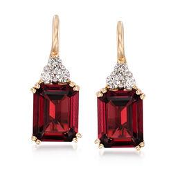 6.25 ct. t.w. Garnet and .38 ct. t.w. Diamond Drop Earrings in 14kt Yellow Gold, , default