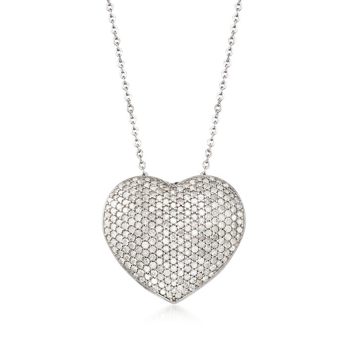 2.00 ct. t.w. Pave Diamond Heart Pendant Necklace in 14kt White Gold