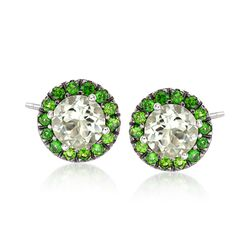 3.70 ct. t.w. Green Amethyst and 1.10 ct. t.w. Chrome Diopside Stud Earrings in Sterling Silver , , default