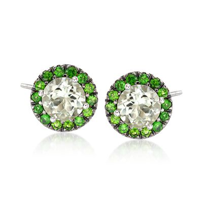 3.70 ct. t.w. Green Prasiolite and 1.10 ct. t.w. Chrome Diopside Stud Earrings in Sterling Silver, , default
