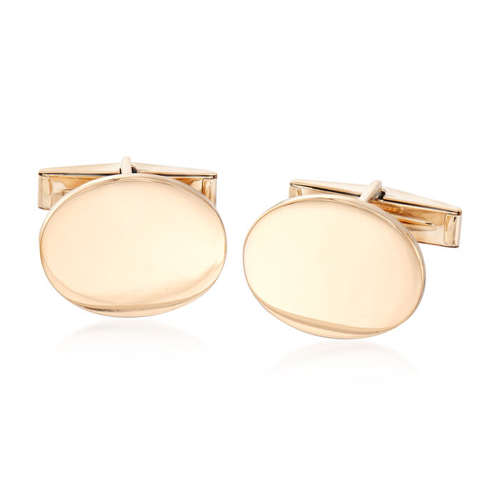 C. 1970 Vintage 14kt Yellow Gold Oval Cuff Links, , default