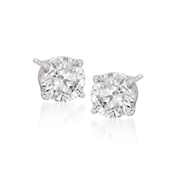 6.00 ct. t.w. CZ Stud Earrings in 14kt White Gold, , default