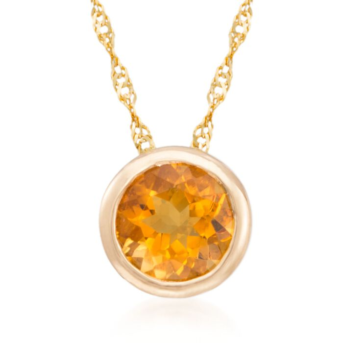 """.70 Carat Citrine Pendant Necklace in 14kt Yellow Gold. 18"""", , default"""